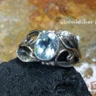 Silver and Topaz Leaf Design Gemstone Ring RI-501-KT