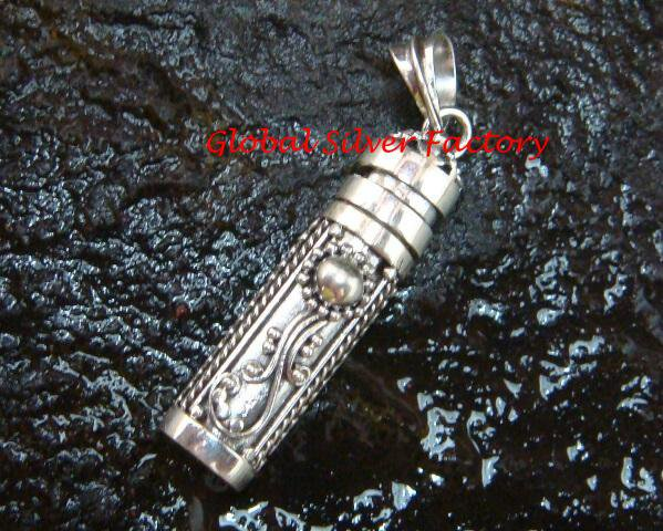 Sterling Silver Bali Keepsake, Cremation Perfume Pendant PP-407-PS
