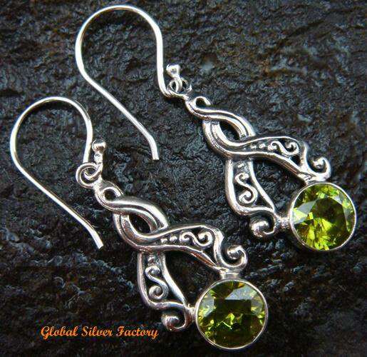 Sterling Silver Peridot Earrings ER-584-PS
