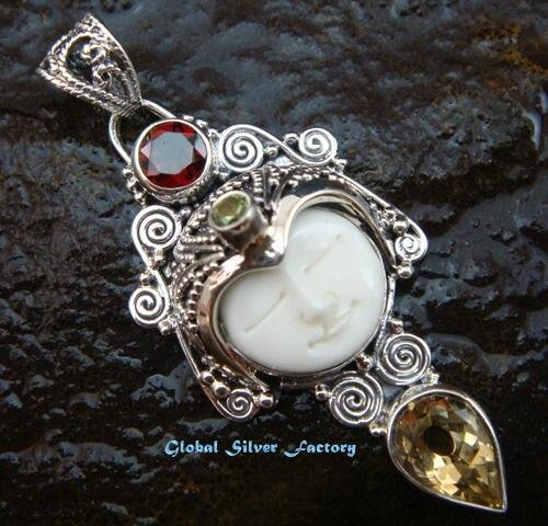 Silver & Mixed Gem Goddess Pendant GDP-1036-PS