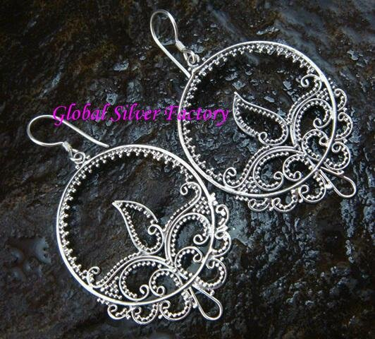 Sterling Silver Filigree Bali Earrings w/ Beads & Tribal Pattern SE-192-KT