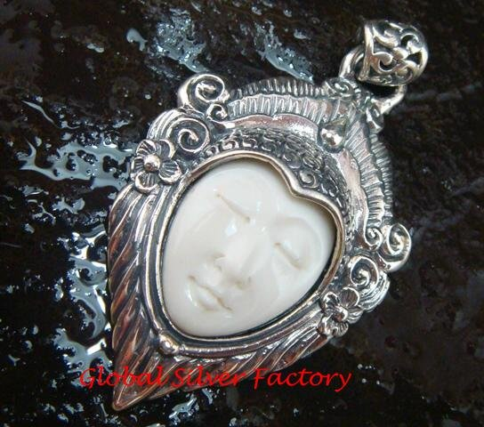 Sterling Silver Bali Face Goddess Pendant GDP-1162-PS