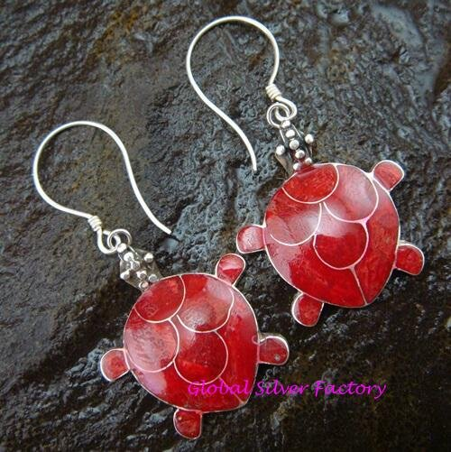 Sterling Silver Red Coral Turtle Earrings ER-594-KA