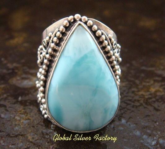 Large Silver & Larimar Gemstone Ring RI-312-KT