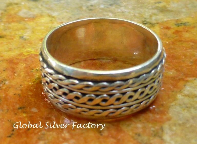 Silver Twisted Rope Design Unisex Spinner Ring SR-204-KA