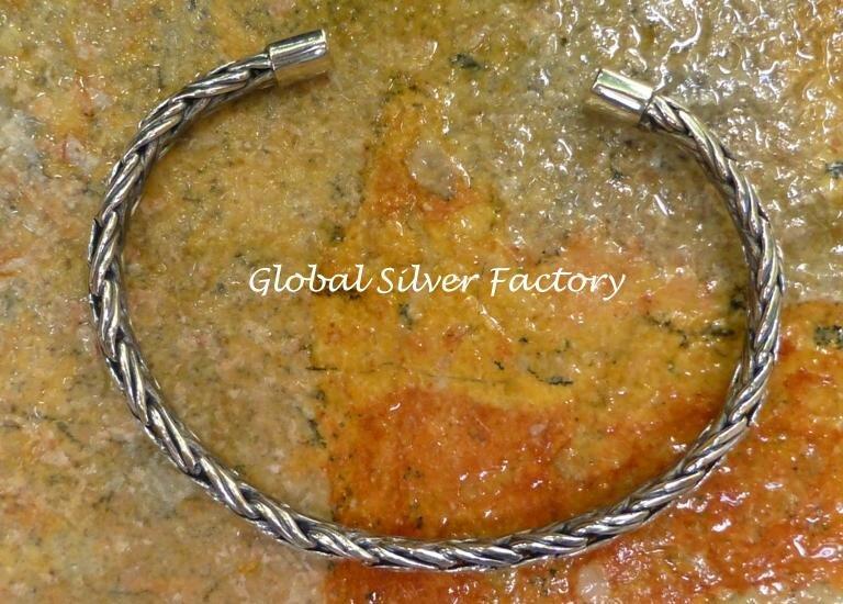 Sterling Silver 5mm Braided Design Cuff Bangle Bracelet SBB-430-KA