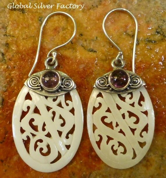 Silver and Tourmaline Filigree Bone Earrings ER-766-KT