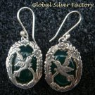 Sterling Silver & Green Agate Carved Bird Earrings ER-721-KA