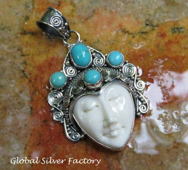 Sterling Silver and Turquoise Goddess Pendant GDP-1284-KT