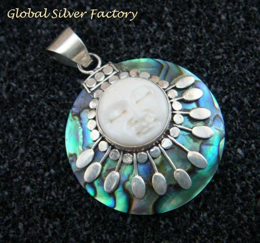 Sterling Silver Paua Shell Moon Face Pendant GDP-1180-KT