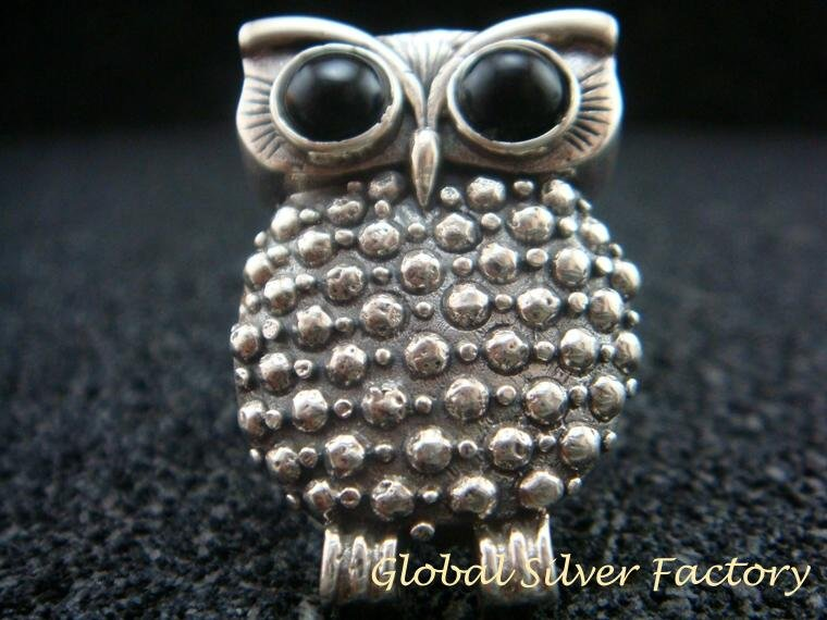Sterling Silver Owl with Black Onyx Ring  RI-445-PS