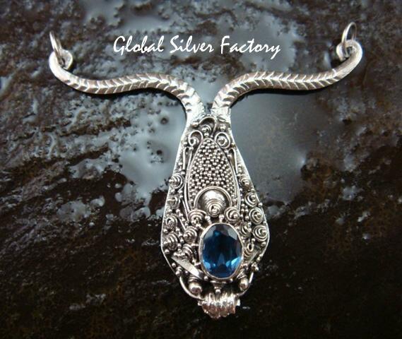 Stunning Sterling Silver & Blue Topaz Dragon Pendant + Free Silver Chain SP-674-KA