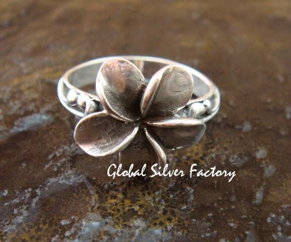 Sterling Silver Tropical Frangipani/ Plumeria Ring SR-155-KT