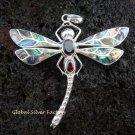 925 Silver Garnet & Paua Shell Dragonfly Pendant BC-132-KT
