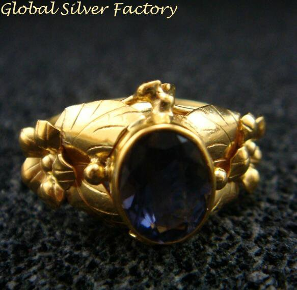 Flower Leaf Amethyst Gold Plated Ring GPR-133-NY