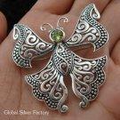 925 Silver Peridot Butterfly Brooch BC-118-KT