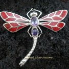 925 Silver Amethyst & Red Coral Dragonfly Pendant BC-133-KT