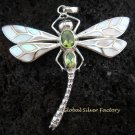 925 Silver Peridot & White Shell Dragonfly Pendant  BC-134-KT
