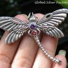 Silver and Mixed Gemstone Dragonfly Brooch BC-180-KA