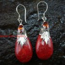 925 Silver Red Coral Garnet Teardrop Earrings ER-115-KA