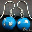 Silver White Polka Dots Blue Chime Ball Earrings CBE-124-KT