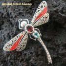 925 Silver Dragonfly Coral Garnet Topaz Brooch BC-112-PS