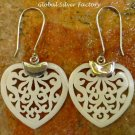 Silver and Carved Bone Heart Shaped Earrings BE-106-KT