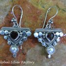 Silver Pearl and Garnet Earrings ER-789-NY