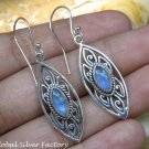 Silver and Rainbow Moonstone Gemstone Earrings ER-794-KT