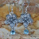 Silver and Blue Topaz Frangipani Flower Earrings ER-795-KT