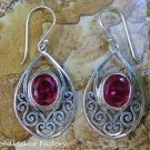 Sterling Silver and Ruby Balinese Earrings ER-797-KT
