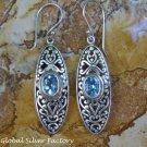 Sterling Silver and Blue Topaz Filigree Earrings ER-799-KT