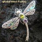925 Silver Dragonfly Amethyst & Peridot Brooch BC-113-PS