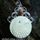 Silver and Goldstone Carved Bone Eagle Pendant BP-193-KT