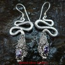 Sterling Silver Amethyst Snake Earrings ER-187-KA