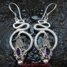 Silver & Amethyst Coiled Snake Earrings ER-277-KA
