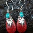 Sterling Silver Genuine Coral & Gemstone Earrings ER-412-KT