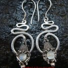 Silver & Rainbow Moonstone Snake Earrings ER-430-KT