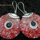 Sterling Silver Red Shell Earrings ER-543-KT