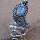 925 Silver Rainbow Moonstone Snake Ring RI-186-NY