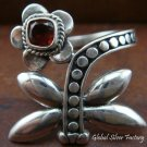 Sterling Silver Garnet Butterfly Ring RI-195-KT