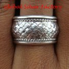 Sterling Silver Woven Style Unisex Wide Band Ring SR-159-KT