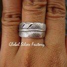 Sterling Silver Banana Leaf Design Band Ring SR-156-KT