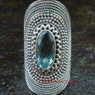 Large Silver Blue Topaz Gemstone Ring RI-367-KT