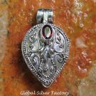 Silver and Garnet Gemstone Locket Pendant LP-245-KA
