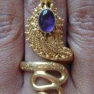 925 Silver & Gold Vermeil Amethyst Snake Ring GPR-110-NY