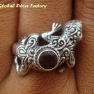 Silver Garnet Gecko Lizard Ring RI-243-KT