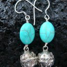925 Silver Turquoise Chime Ball Earrings CBE-110-NY