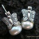 925 Silver Black Pearl Butterfly Earrings ER-149-KA