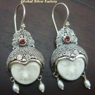 Silver Pearl Garnet Goddess Earrings GDE-543-PS